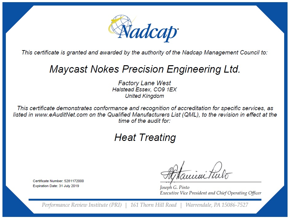 Approvals Certifications Maycast Nokes Precision Engineering